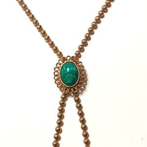 Avon Gold Green Adjustable Chain Necklace